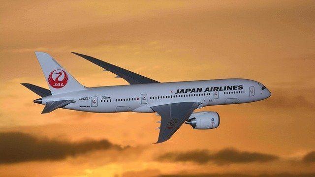 飛行中の日本航空の飛行機