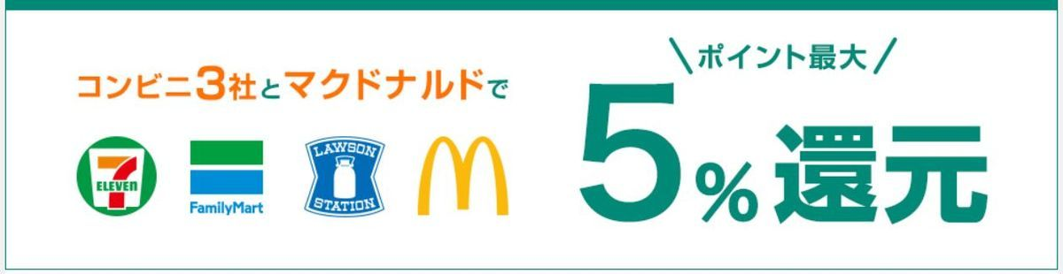 コンビニ3社とマクドナルドで5%還元