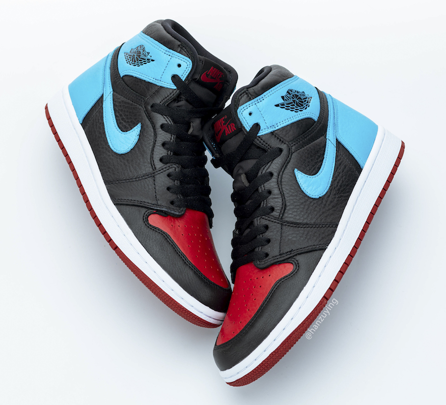NIKE WMNS AIR JORDAN 1 HIGH UNC TO CHICAGO POWDER BLUE GYM RED CD0461-046