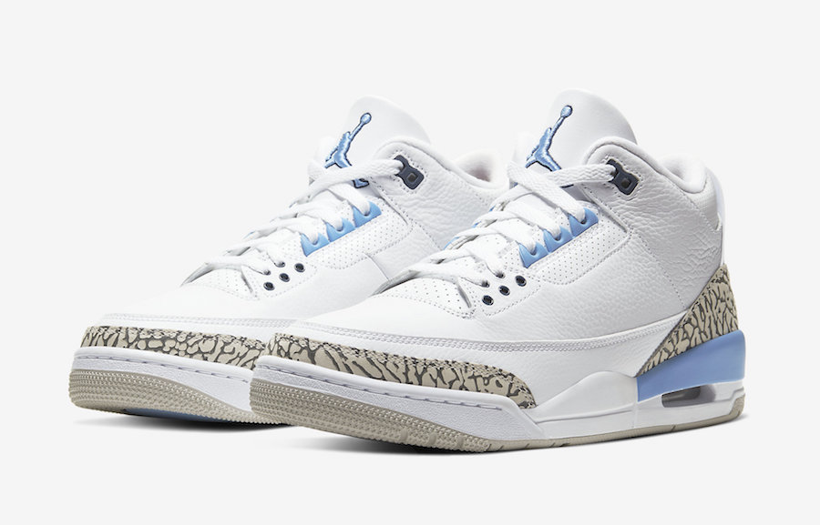 NIKE AIR JORDAN 3 RETRO UNC WHITE/VALOR BLUE CT8532-104