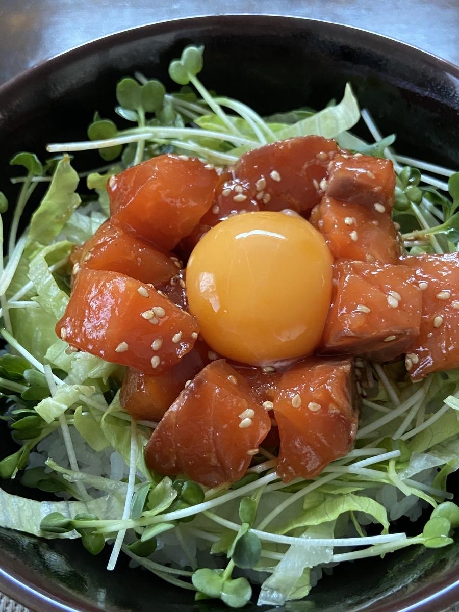 サーモン ピリ辛 ユッケ丼 レシピ