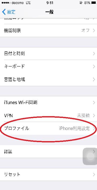 アイフォンのプロファイル画面
