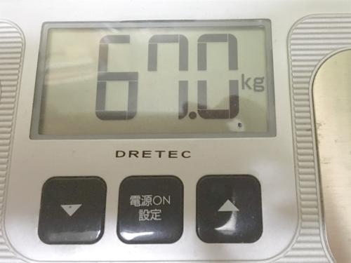 ダイエット3週間後の体重計