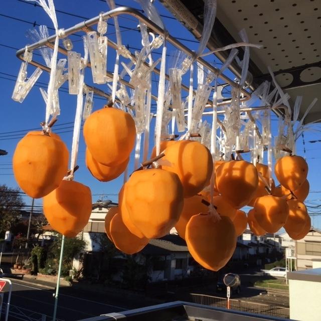 洗濯ハンガーで吊るす干し柿