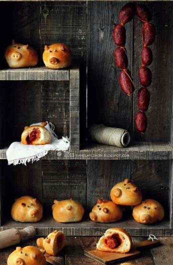 ウインナーのフードアート・ソーセージパン