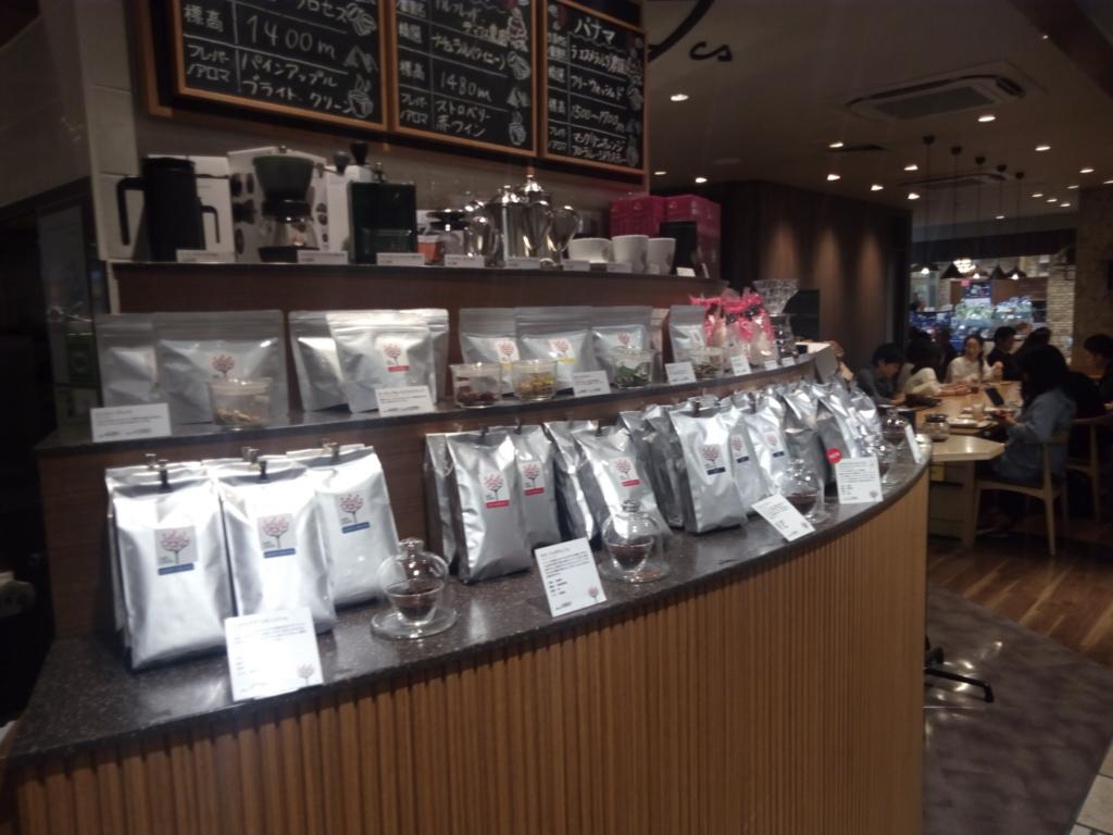 CAFE LEXCELのコーヒーグッズ販売コーナー