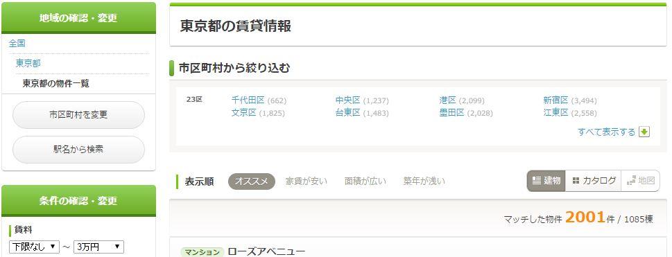 door賃貸で東京都の物件を検索した結果