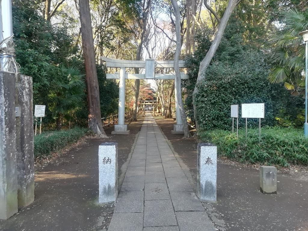 喜多見の氷川神社の鳥居と参道