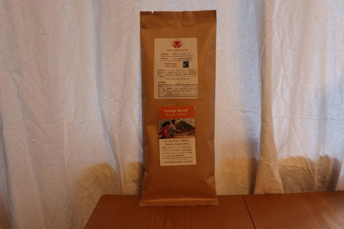 ベルベットコネクションのカフェインレスコーヒーのパッケージ