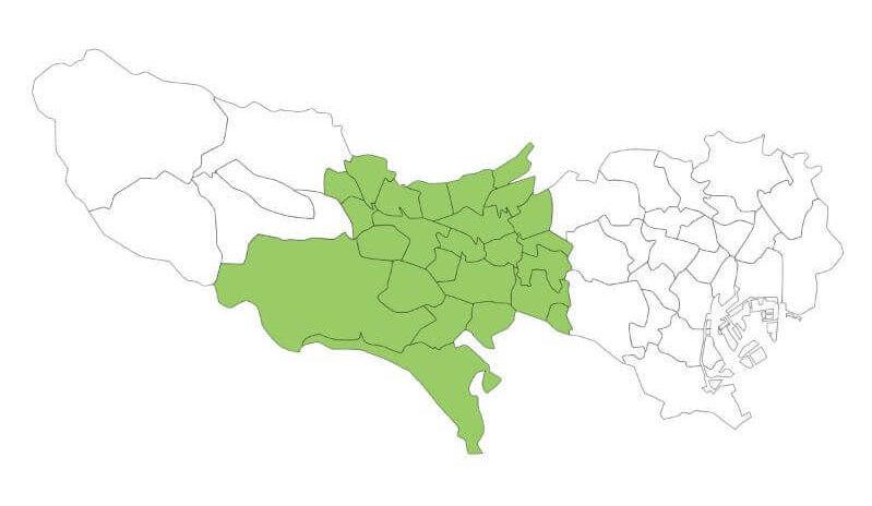 東京における多摩地方の地図