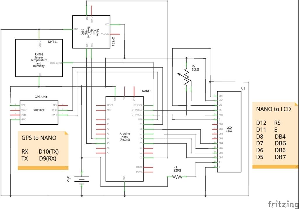 Arduinoでつくるコクピット情報表示LCDモニターの回路図