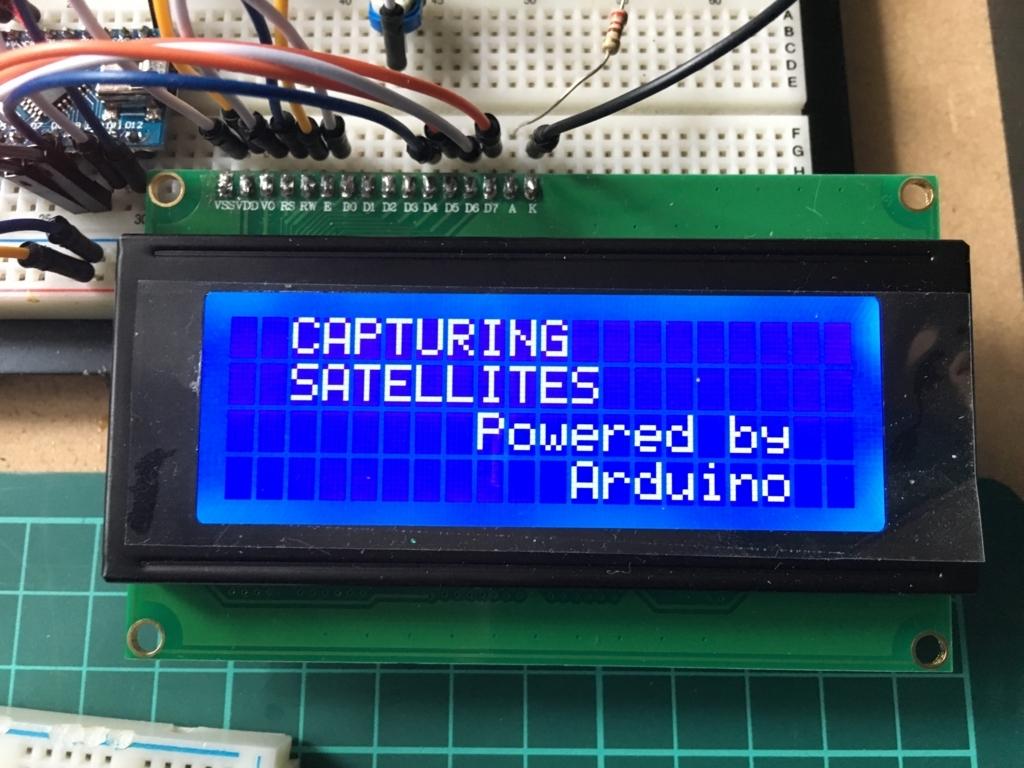Arduino で加速度、位置、時計、温度をLCDに表示。ウェルカム画面