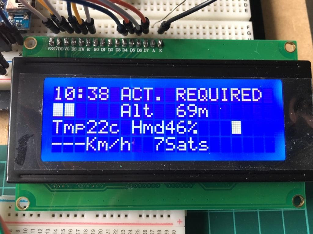 Arduinoとセンサーで20x4LCDに情報表示