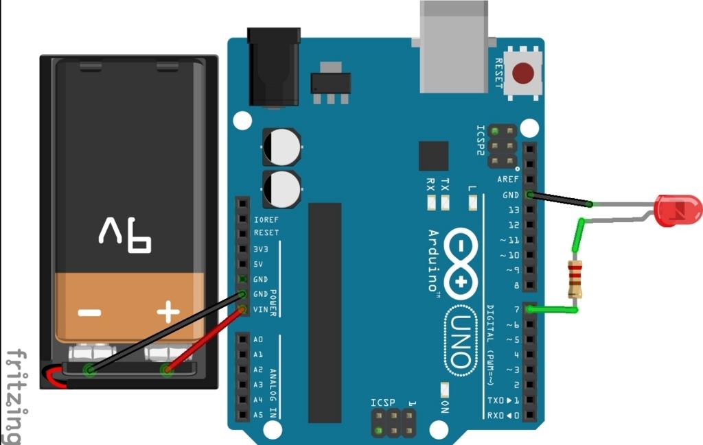 Arduino Lチカ 回路のつなぎかた