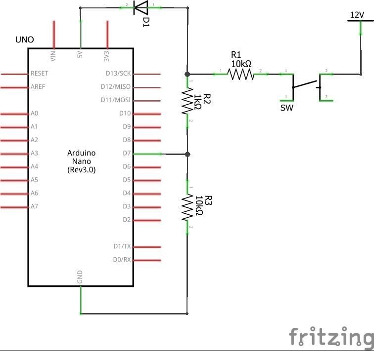 12Vをデジタル信号(5V)に変える_回路図