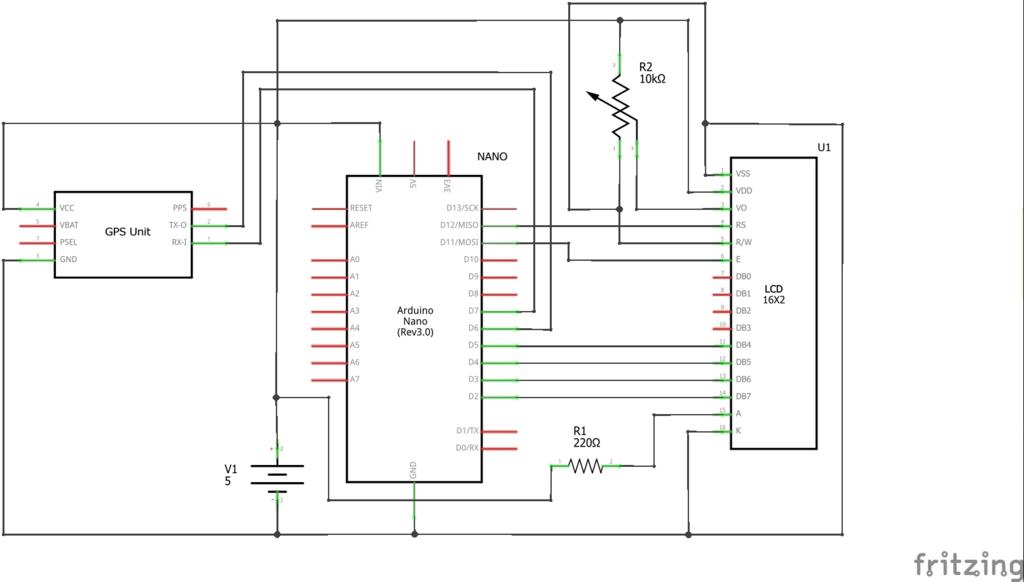 車の天井GPSモニター作成編~Arduinoとパラレル通信する回路図とスケッチ