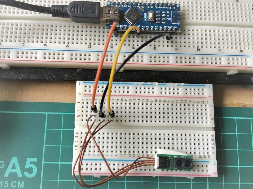 Arduinoと赤外線モジュールGP2Y0E02Aの配線