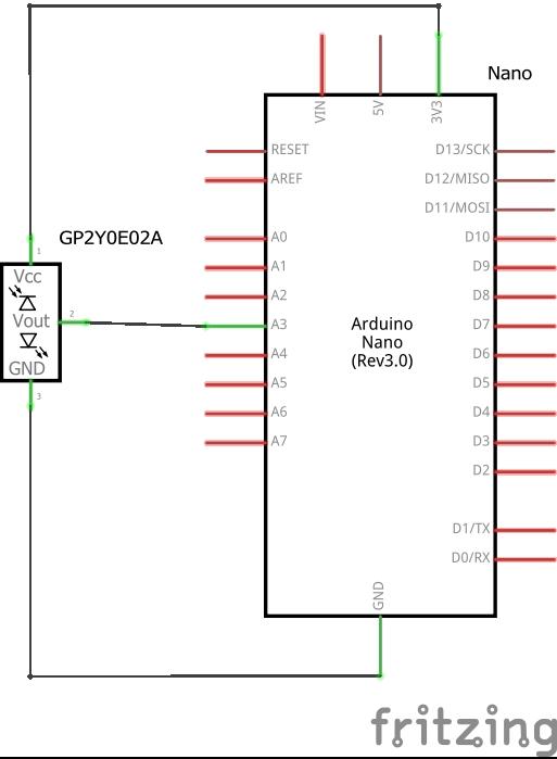Arduinoと赤外線モジュールGP2Y0E02Aの配線図