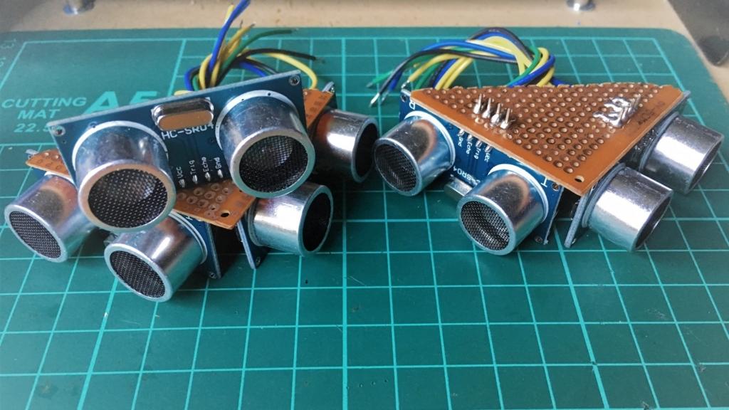 トイラジコンを自動走行ロボットにするための超音波センサー5個