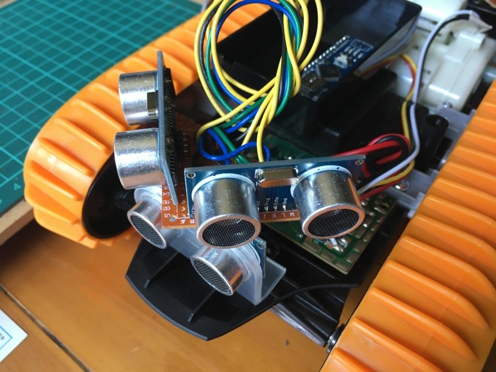 トイラジコンの前側に超音波センサー3個を装着。自動走行ロボット化計画