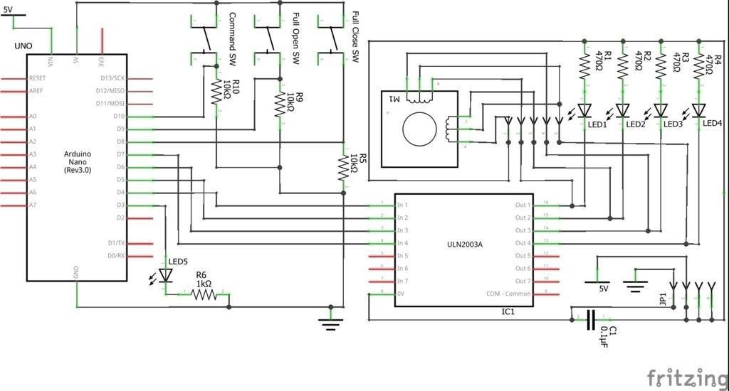 Arduinoと28BYJ-48を使う回路図。車用 電動スライド開閉式テーブルの自作。