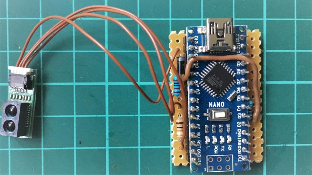 赤外線センサーGP2Y0E02Aの接続(USB扇風機の癒し改造)