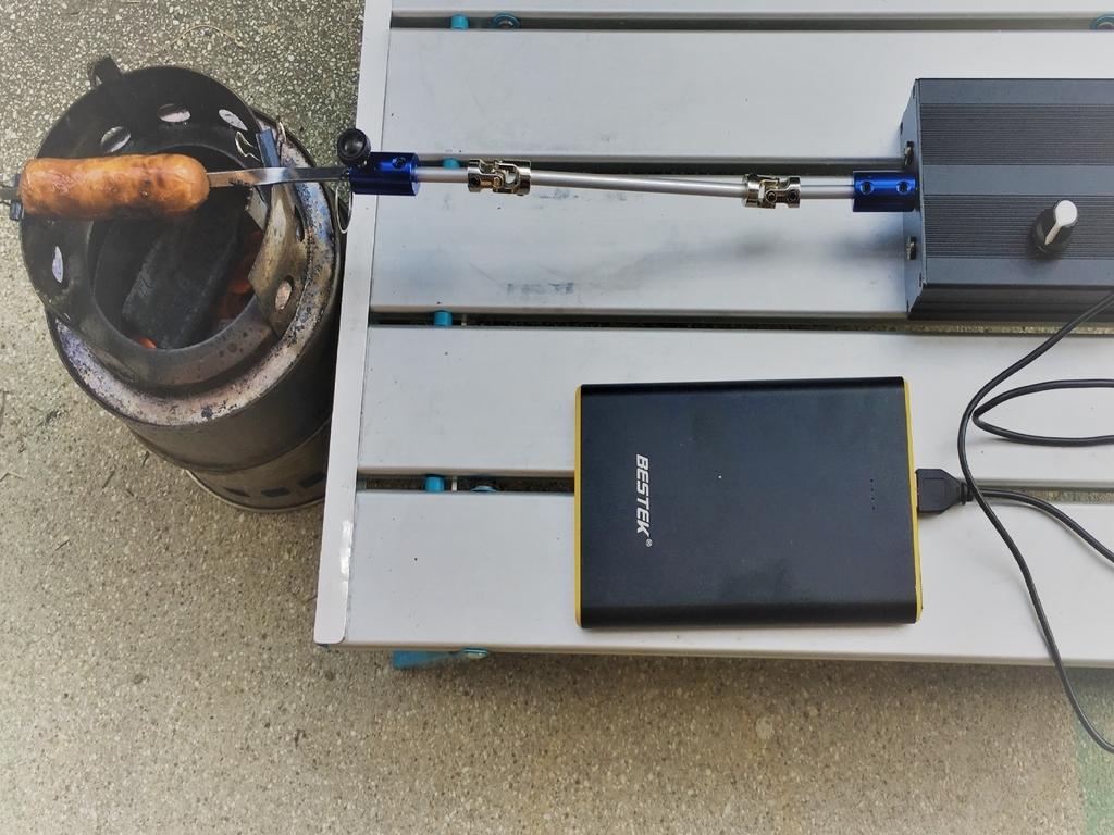 電動ロティサリーをモバイルバッテリーで動かす
