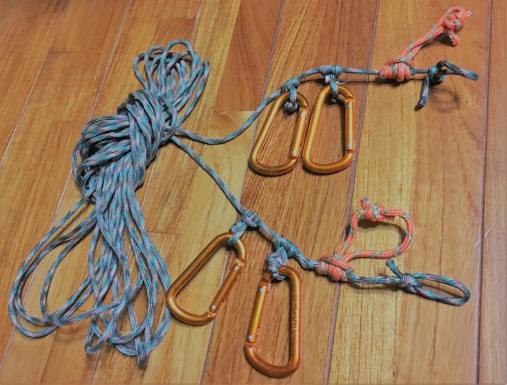使いやすいガイロープをパラコードで自作。基本ロープテクニックも紹介します。