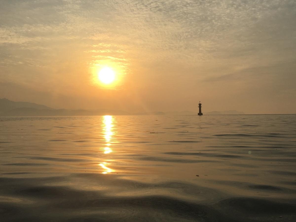 フィッシングカヤックで、海の上で日の出を拝む