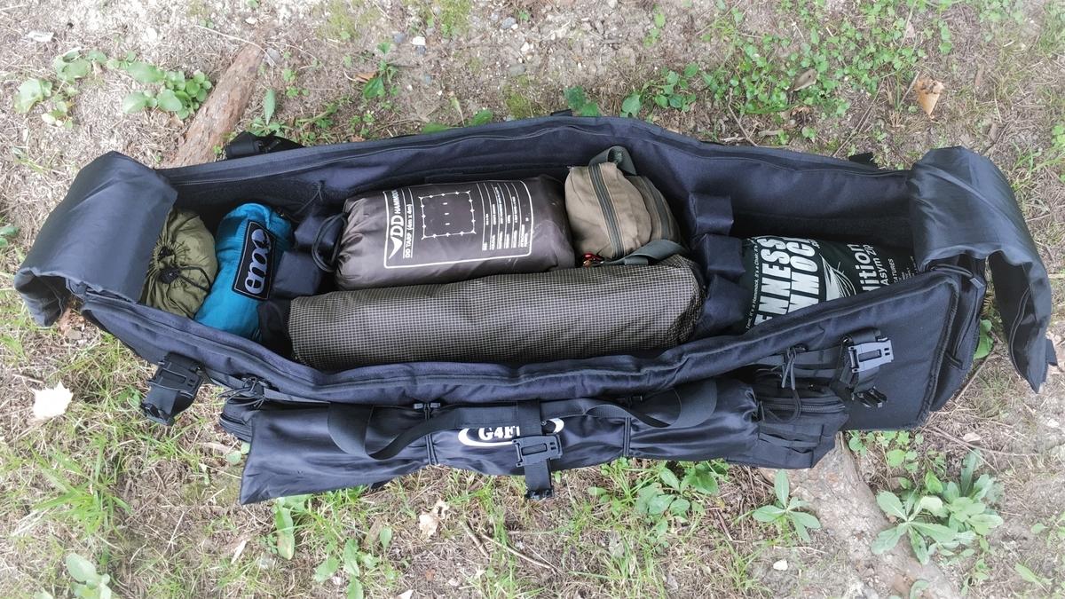 テントやハンモックなどを入れられるMOLLE(モール)システムバッグ