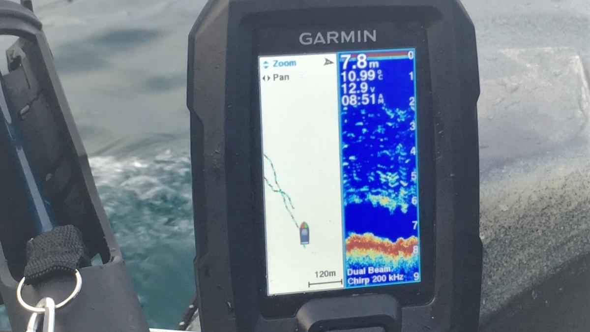ガーミンの魚探で最も使っているWaypoint Map+Traditional画面