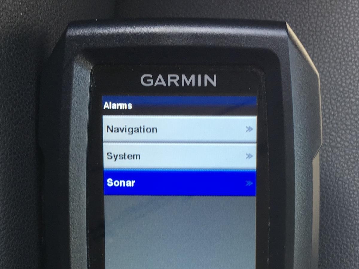 ガーミン ストライカー4のアラーム設定を変える