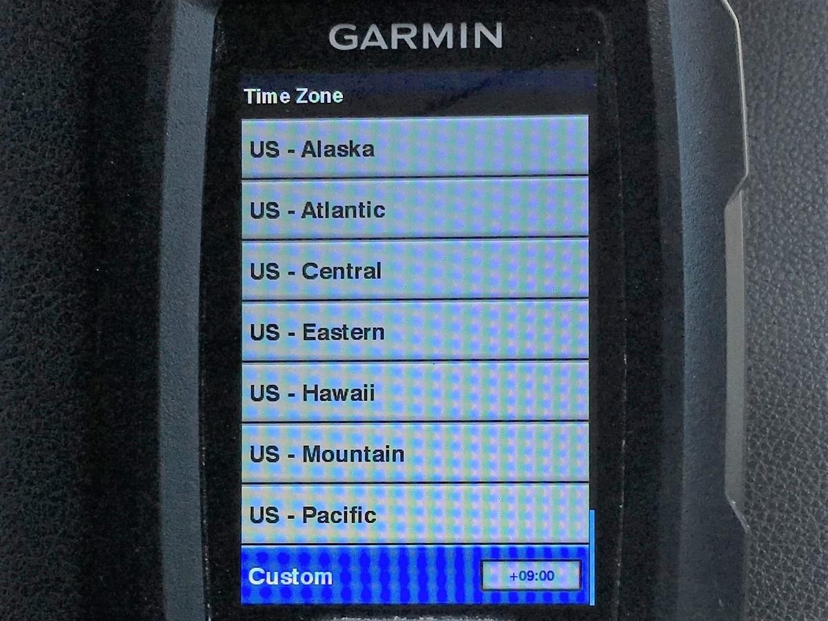 ガーミン ストライカー4のタイムゾーンを変える