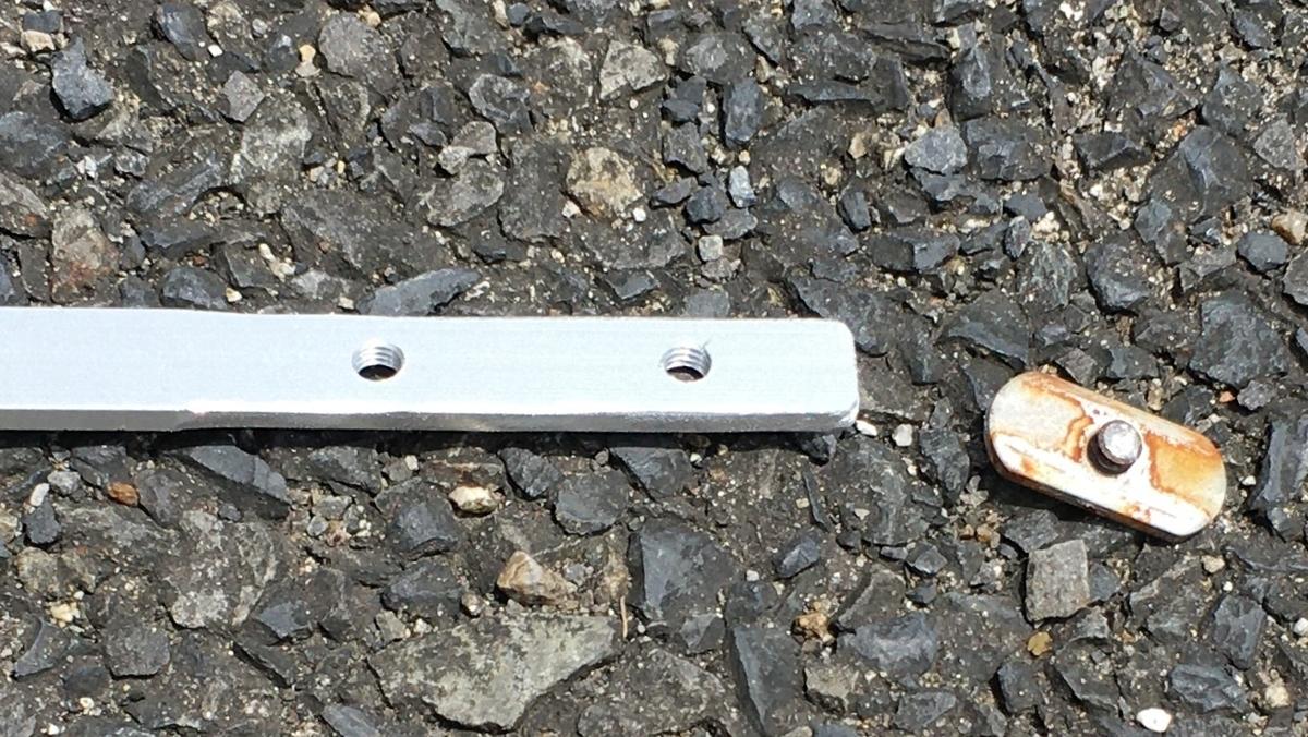 カヤックのレールシステムのナットを自作。アルミ板に穴をあけます