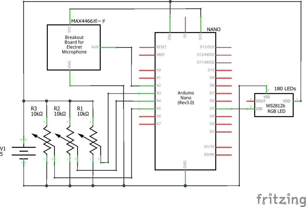 Arduinoで自作するサウンド レベル メーターの回路図