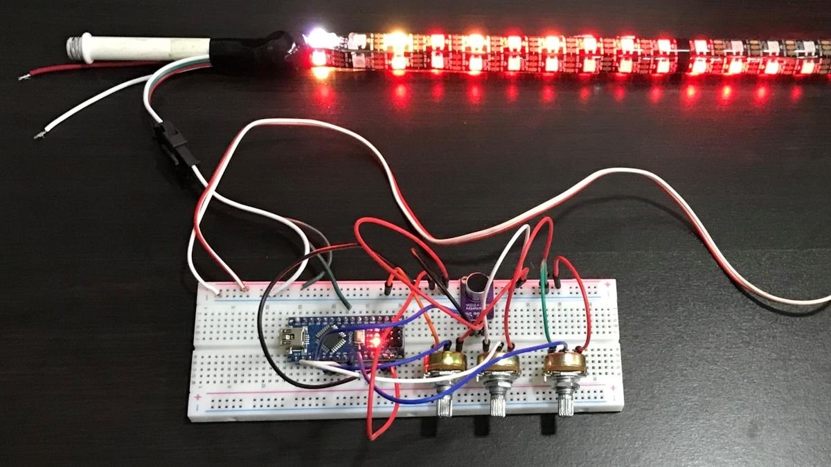 Arduinoを使って、LEDを炎のパターンで光らせる