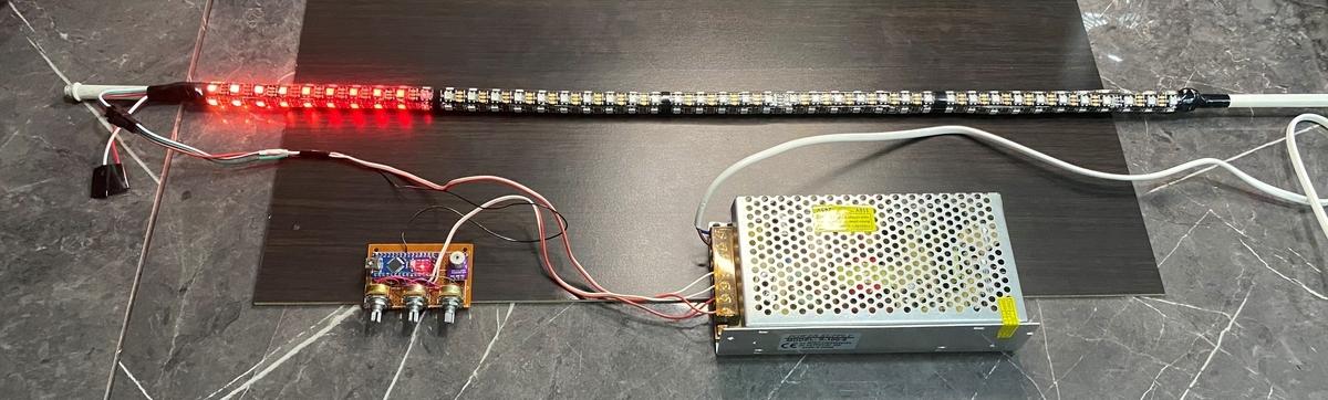 WS2812Bで行燈を改造。(サウンド レベル メーター 赤色)