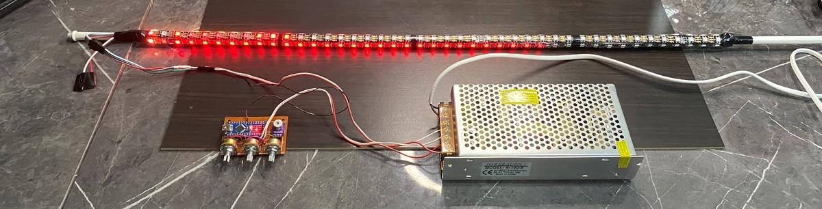 WS2812Bで行燈を改造。(ファイヤー 赤色)