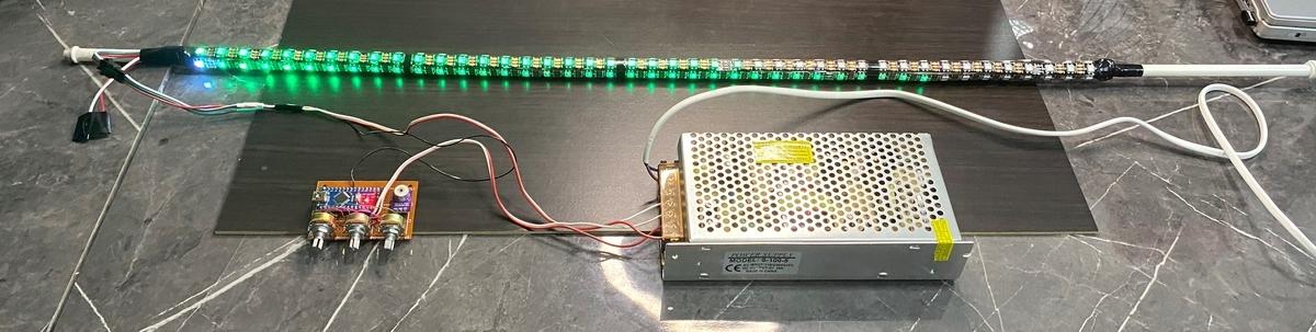 WS2812Bで行燈を改造。(ファイヤー 徐々に変化する色)