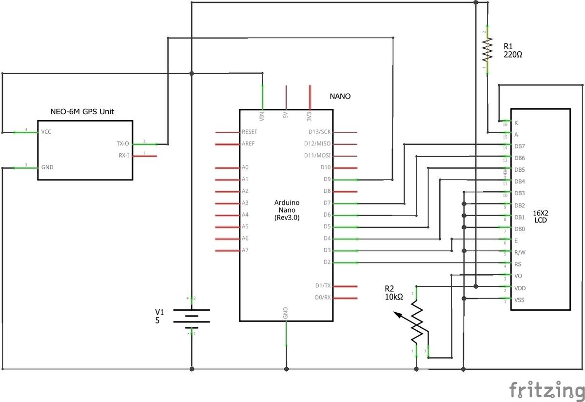 GPS clock 1604 LCD_回路図