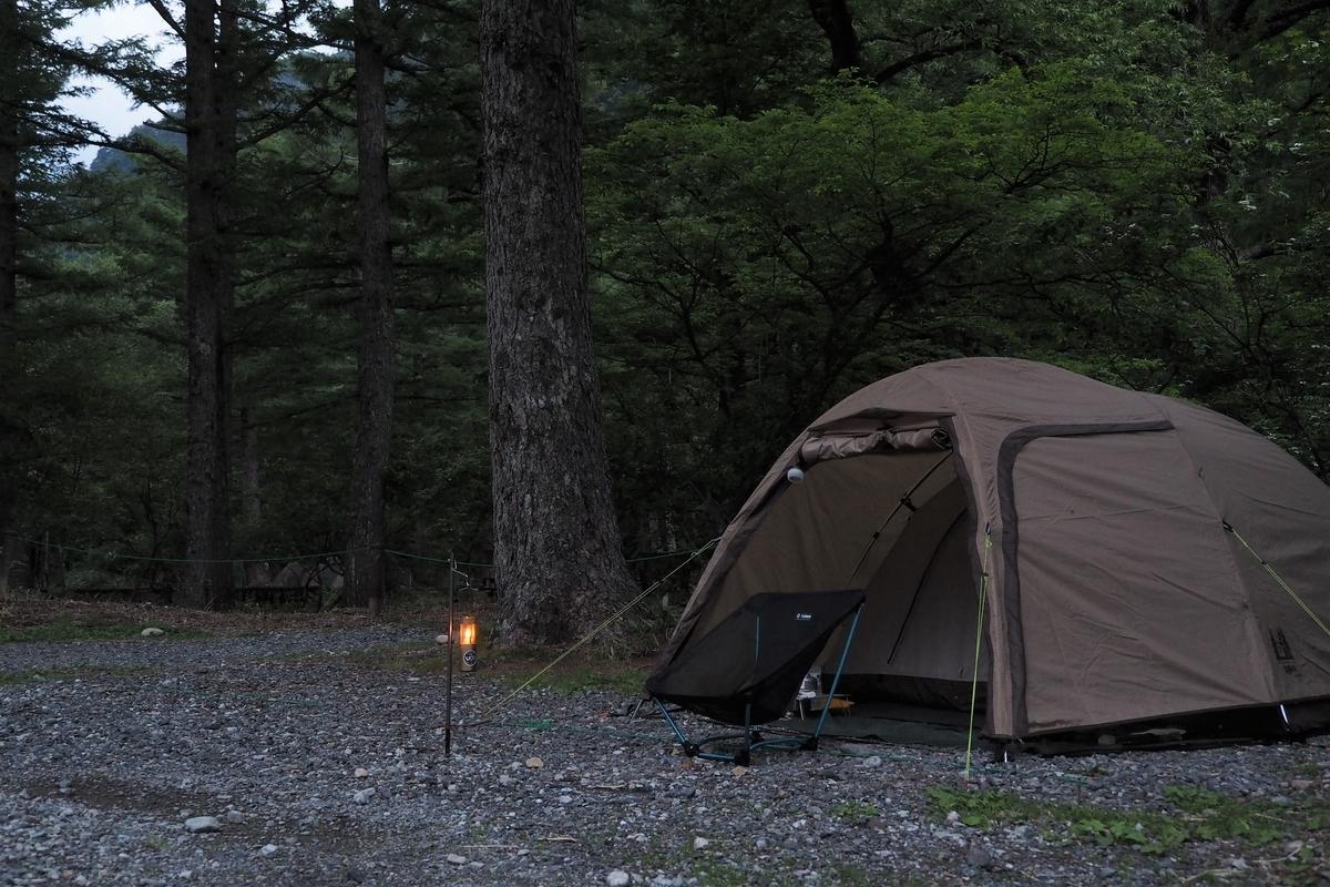 上高地 小梨平 ソロキャンプ 徒歩キャンプ