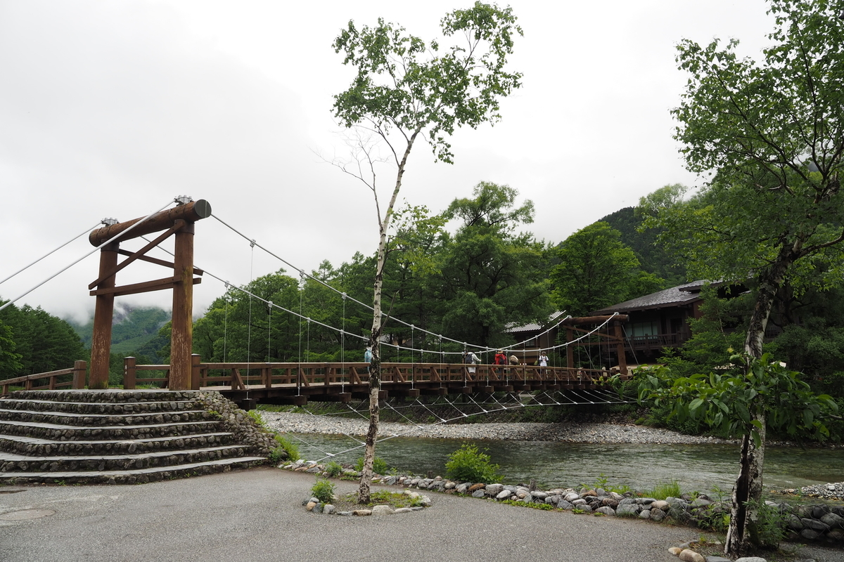 上高地 小梨平 ソロキャンプ 徒歩キャンプ 河童橋