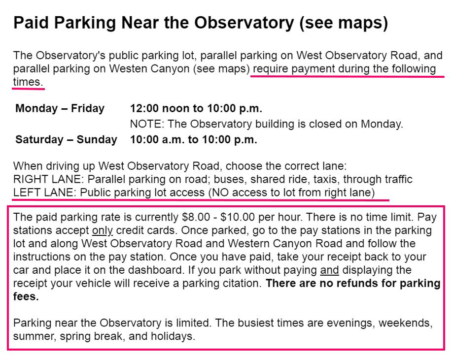 グリフィス天文台 駐車場