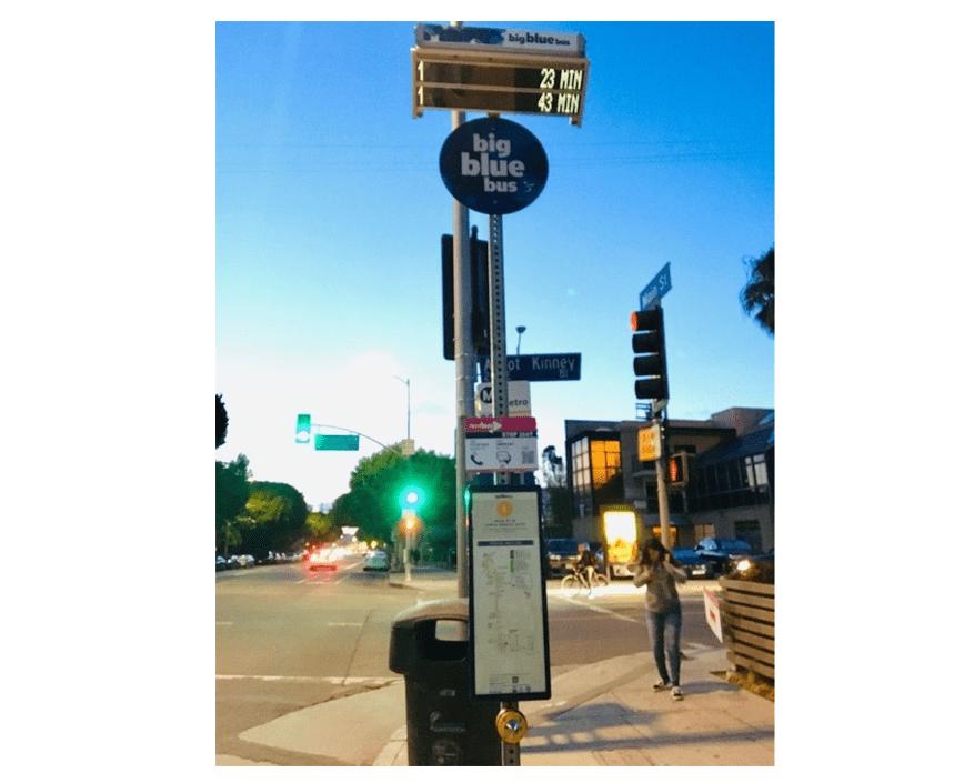 ベニスビーチのBig Blue Busバス停