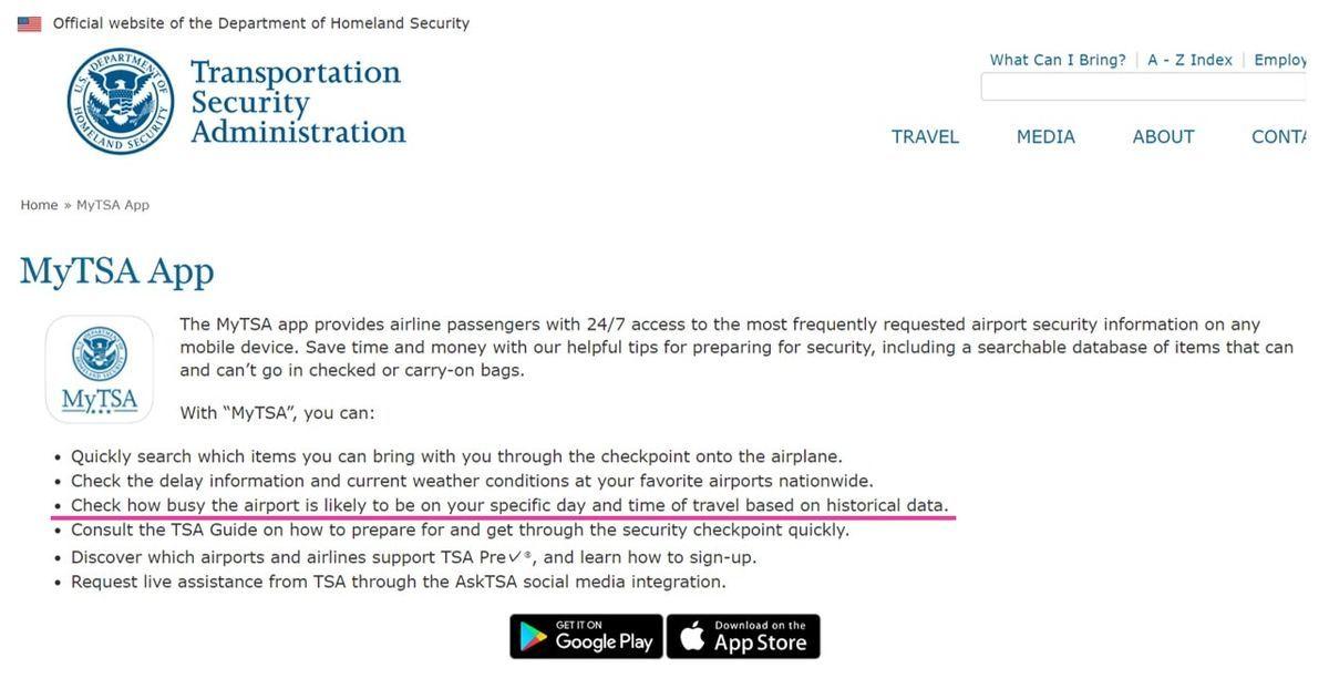 空港での待ち時間がわかるTSAアプリの紹介ページ