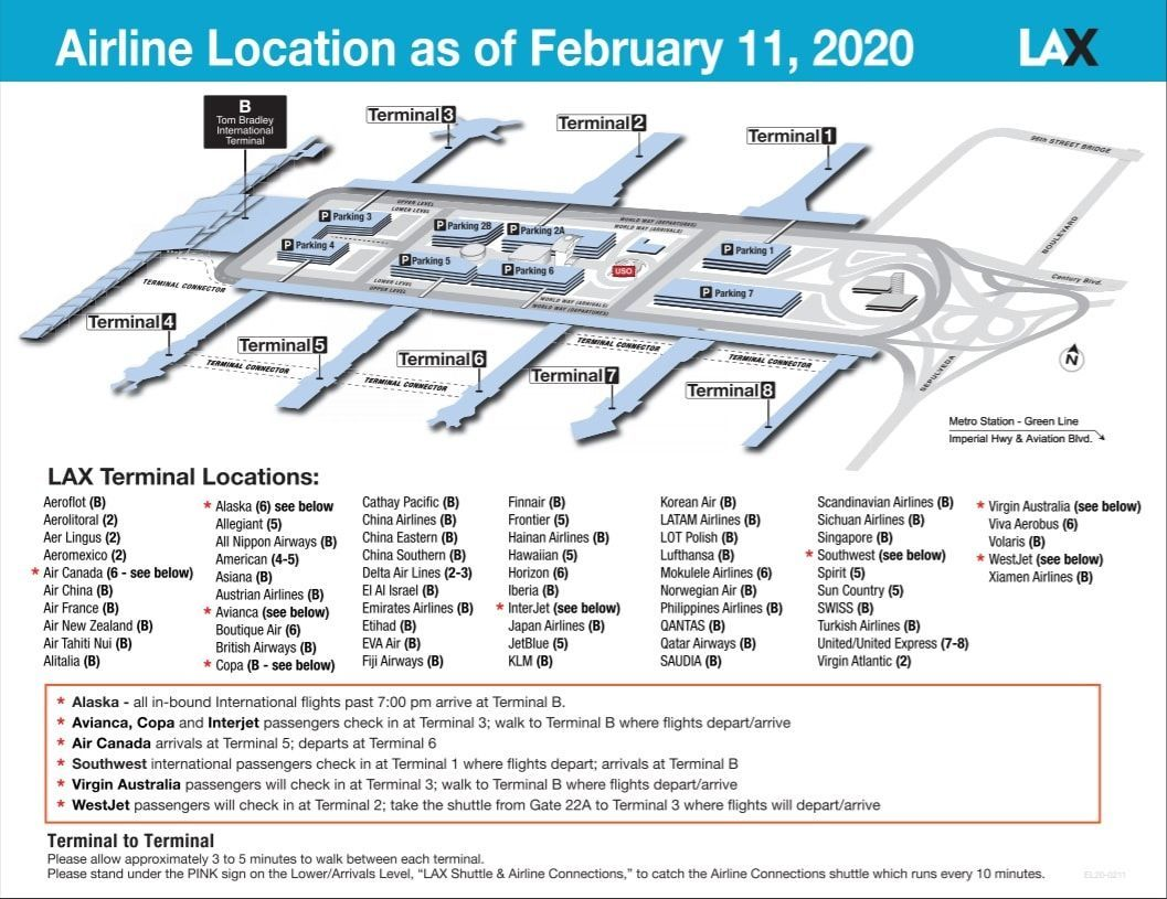ロサンゼルス国際空港のターミナルマップ
