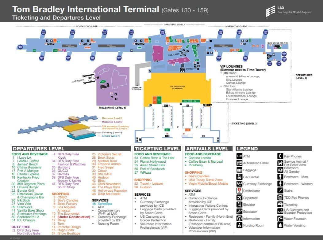 ロサンゼルス国際空港のTBITターミナル内マップ