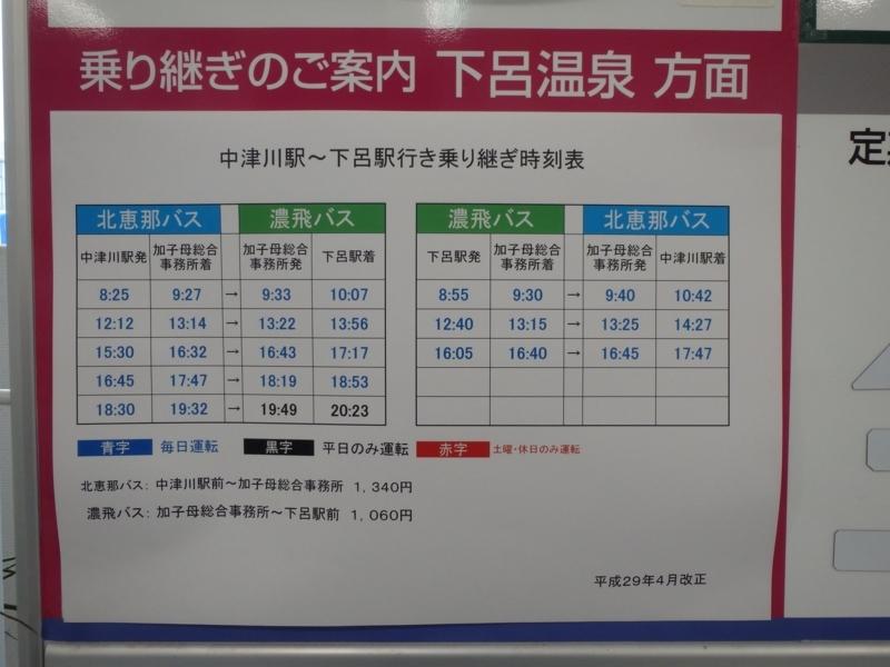加子母総合事務所で北恵那交通と濃飛バスを乗り継ぐ場合の時刻表