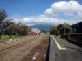 高森駅と阿蘇山