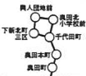 ラケット型循環運転の例(「富山地方鉄道 乗合自動車 停留所表」より)